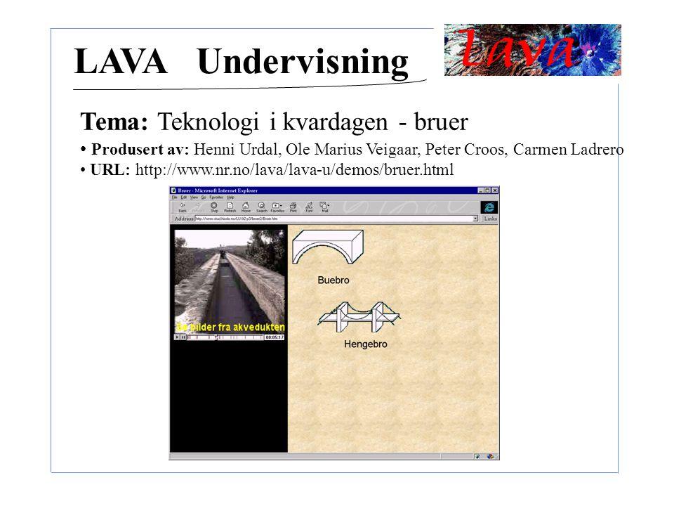 LAVA Undervisning Tema: Teknologi i kvardagen - bruer Produsert av: Henni Urdal, Ole Marius Veigaar, Peter Croos, Carmen Ladrero URL: http://www.nr.no/lava/lava-u/demos/bruer.html