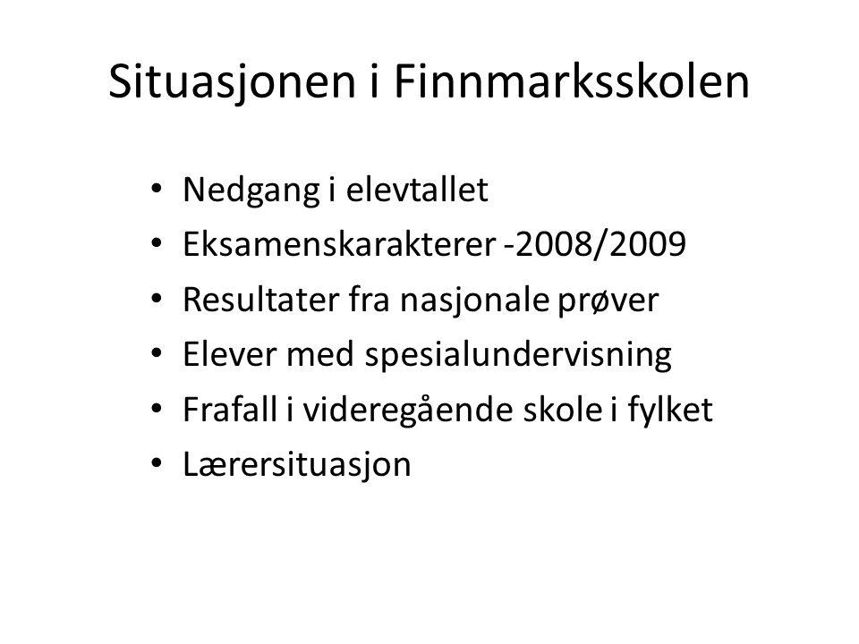 Situasjonen i Finnmarksskolen Nedgang i elevtallet Eksamenskarakterer -2008/2009 Resultater fra nasjonale prøver Elever med spesialundervisning Frafal