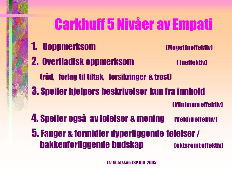 Liv M. Lassen, ISP, UiO 2005 Carkhuff 5 Nivåer av Empati 1.