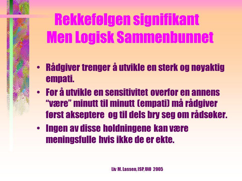 Liv M.Lassen, ISP, UiO 2005 Kongruens Å være seg selv på en integrert, fullstendig, genuin måte.