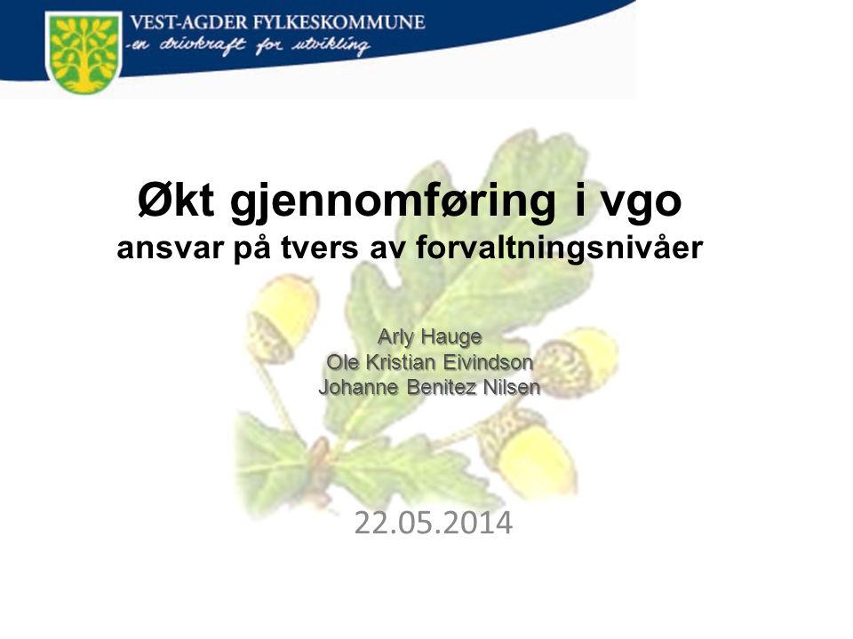 Arly Hauge Ole Kristian Eivindson Johanne Benitez Nilsen 22.05.2014 Økt gjennomføring i vgo ansvar på tvers av forvaltningsnivåer