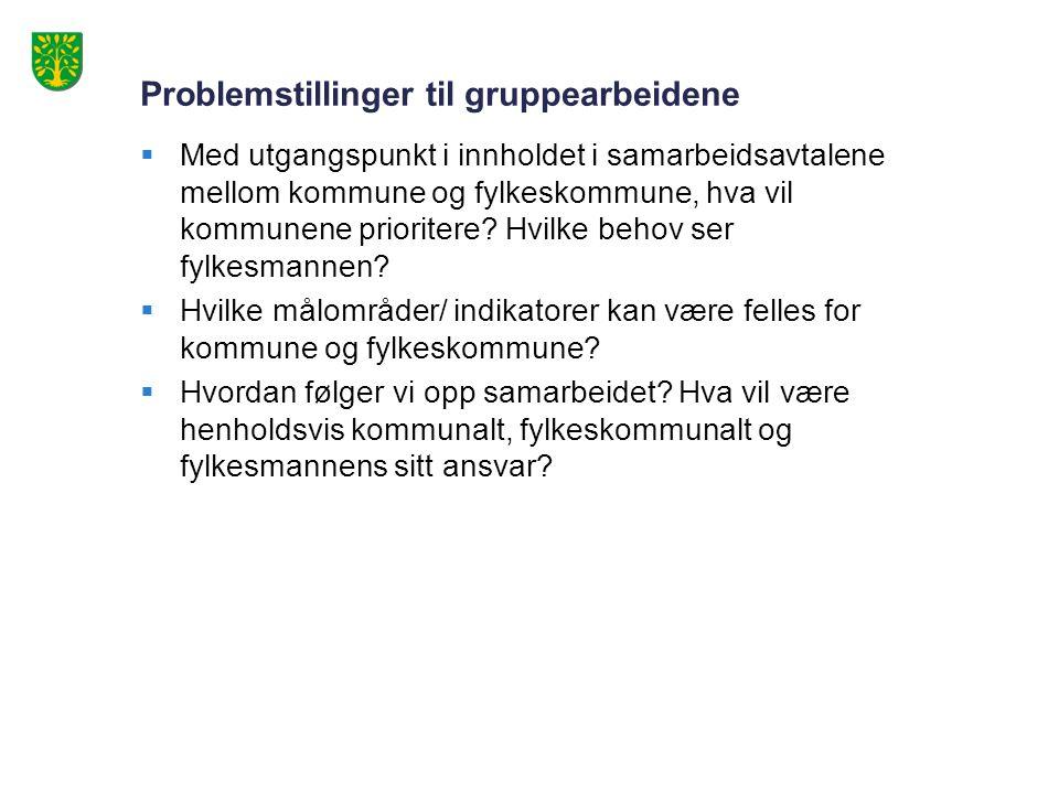 Problemstillinger til gruppearbeidene  Med utgangspunkt i innholdet i samarbeidsavtalene mellom kommune og fylkeskommune, hva vil kommunene prioritere.