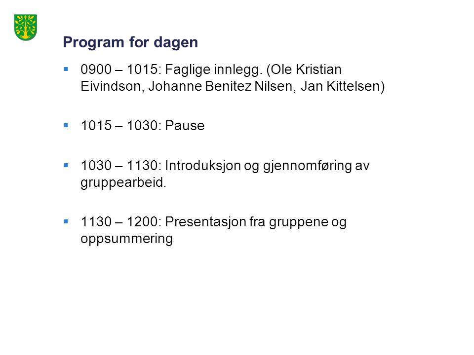 Program for dagen  0900 – 1015: Faglige innlegg.