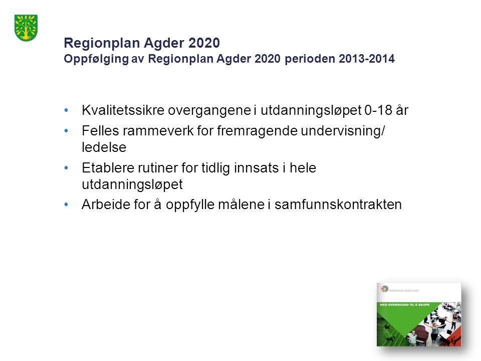 Regionplan Agder 2020 Oppfølging av Regionplan Agder 2020 perioden 2013-2014 Kvalitetssikre overgangene i utdanningsløpet 0-18 år Felles rammeverk for fremragende undervisning/ ledelse Etablere rutiner for tidlig innsats i hele utdanningsløpet Arbeide for å oppfylle målene i samfunnskontrakten