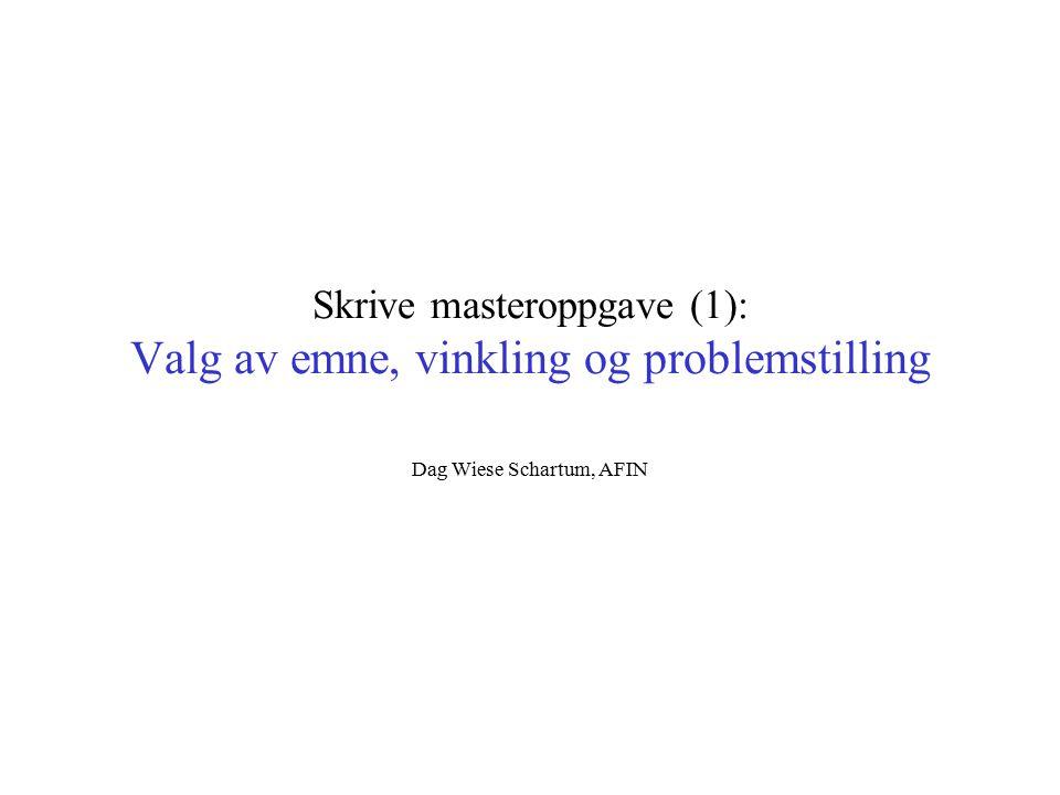 Skrive masteroppgave (1): Valg av emne, vinkling og problemstilling Dag Wiese Schartum, AFIN