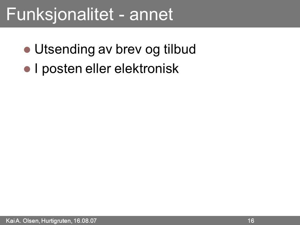 Kai A. Olsen, Hurtigruten, 16.08.07 16 Funksjonalitet - annet Utsending av brev og tilbud I posten eller elektronisk