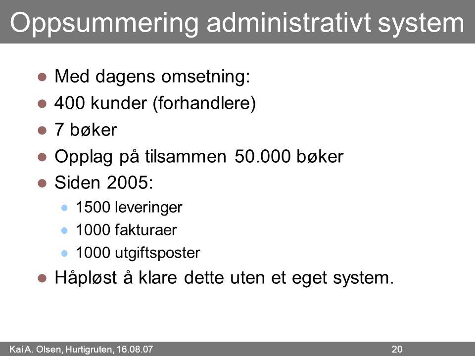 Kai A. Olsen, Hurtigruten, 16.08.07 20 Oppsummering administrativt system Med dagens omsetning: 400 kunder (forhandlere) 7 bøker Opplag på tilsammen 5
