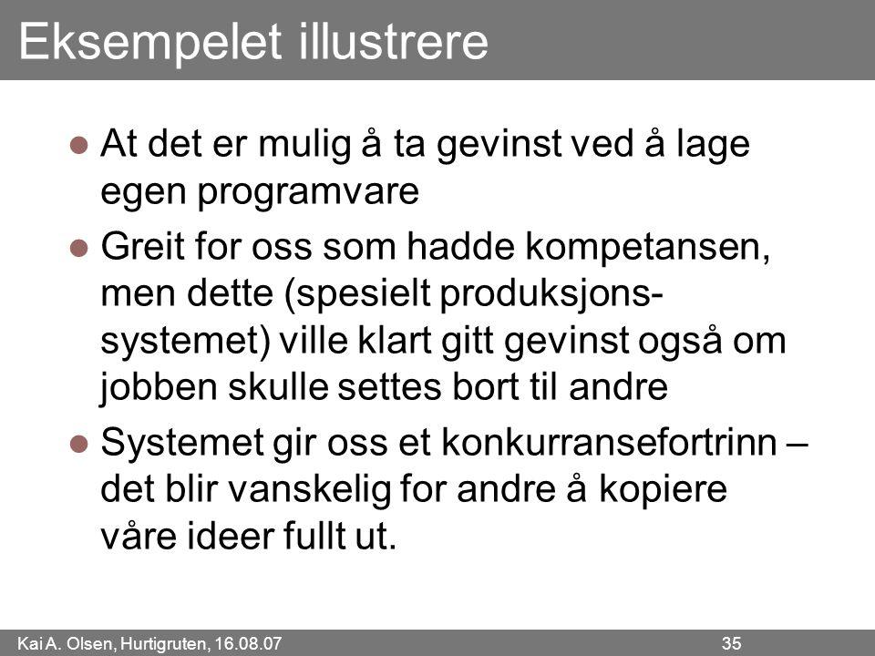 Kai A. Olsen, Hurtigruten, 16.08.07 35 Eksempelet illustrere At det er mulig å ta gevinst ved å lage egen programvare Greit for oss som hadde kompetan