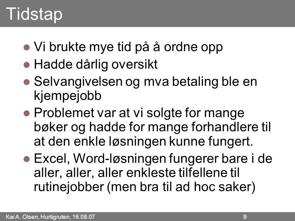 Kai A. Olsen, Hurtigruten, 16.08.07 9 Tidstap Vi brukte mye tid på å ordne opp Hadde dårlig oversikt Selvangivelsen og mva betaling ble en kjempejobb