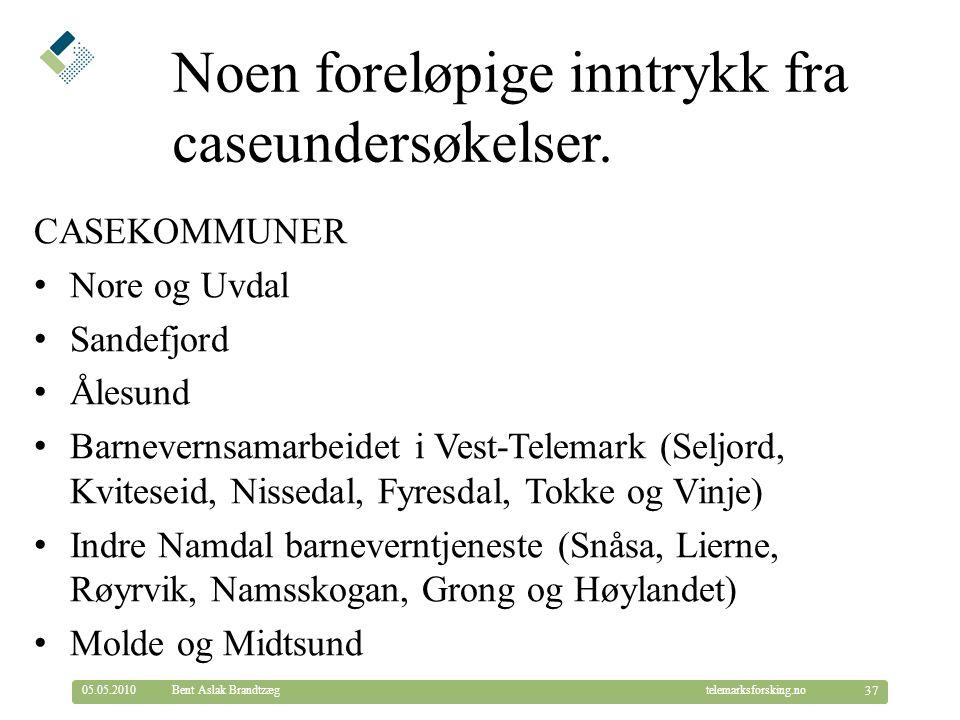 © Telemarksforsking telemarksforsking.no Noen foreløpige inntrykk fra caseundersøkelser. CASEKOMMUNER Nore og Uvdal Sandefjord Ålesund Barnevernsamarb