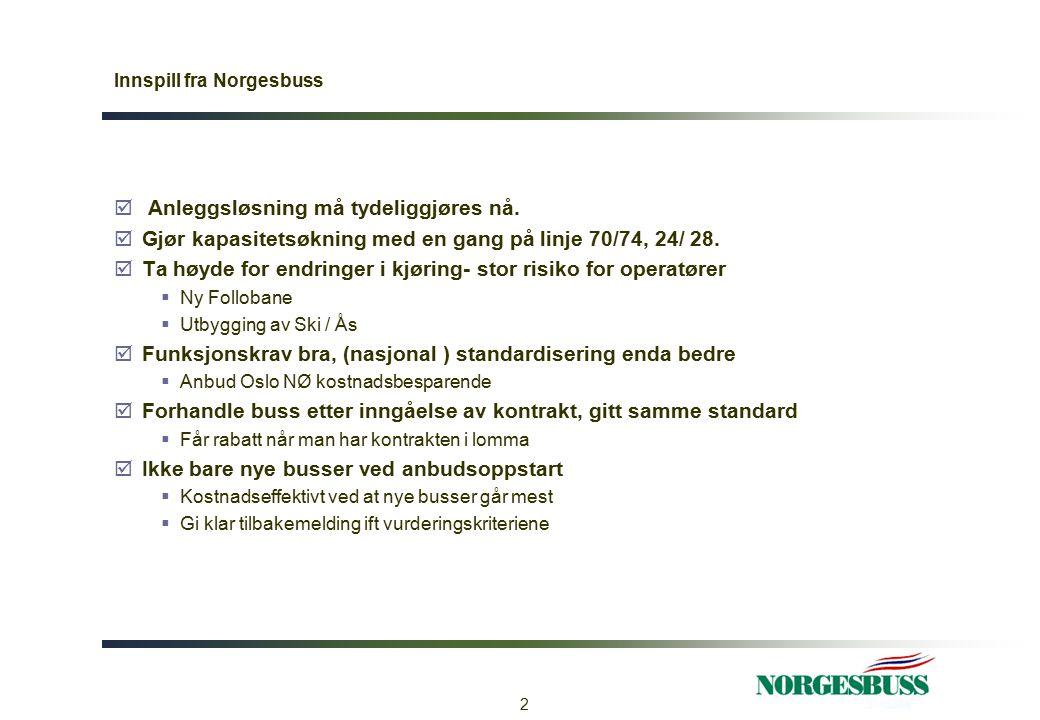 Innspill fra Norgesbuss  Regulering  Norgesbuss ønsker buss, km og rutetime  Prismodell  Norgesbuss ønsker videreføring av dagens løsning mht selve prisingsmodellen, pris =50%  Vognløp kan godt utgjøre noe mer enn i dag  Forutsigbarhet viktig  Pris en gang ok så lenge det er kommunisert på forhånd  Opsjonsperioder bør være tosidig og løses inn så raskt som mulig 3
