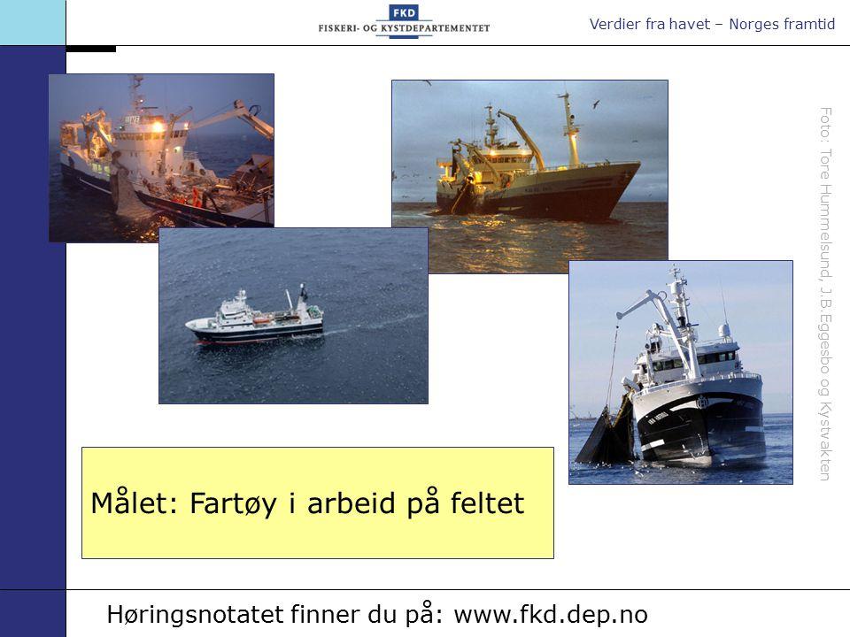 Verdier fra havet – Norges framtid Foto: Tore Hummelsund, J.B.Eggesbo og Kystvakten Målet: Fartøy i arbeid på feltet Høringsnotatet finner du på: www.fkd.dep.no