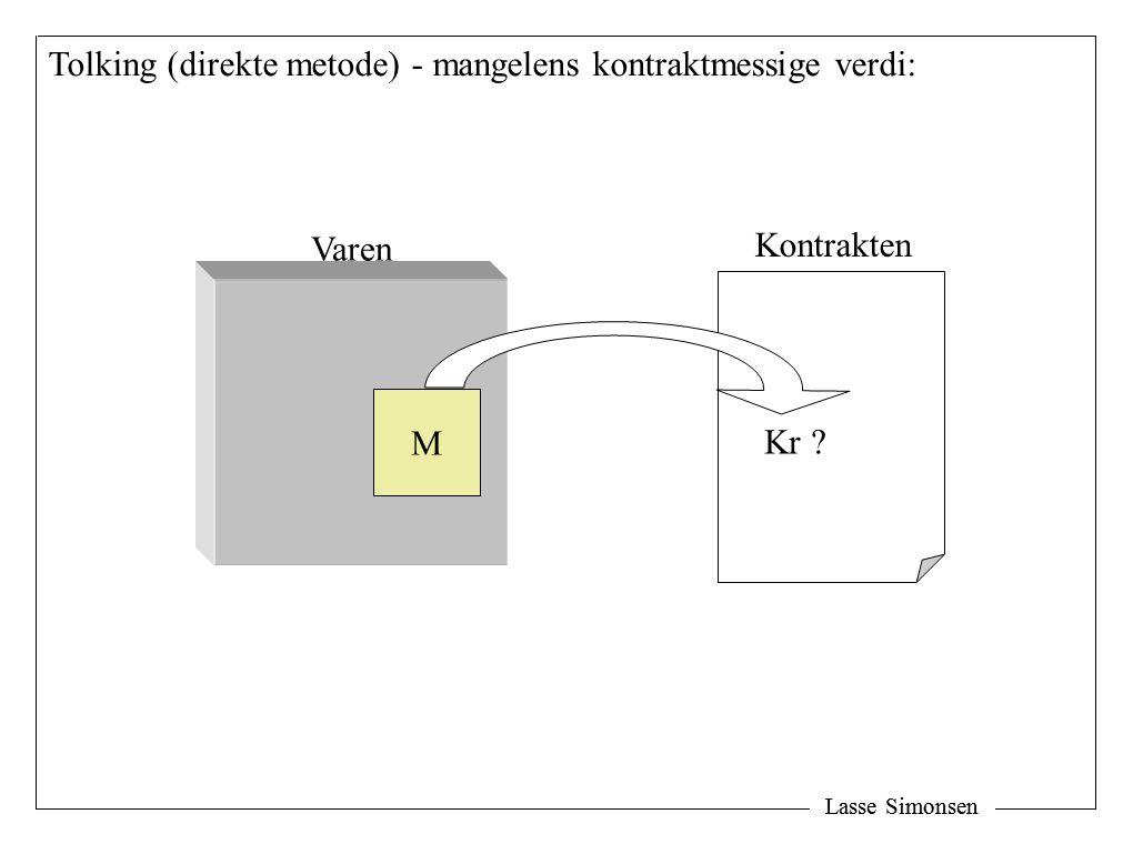 Lasse Simonsen M Kr Varen Kontrakten Tolking (direkte metode) - mangelens kontraktmessige verdi: