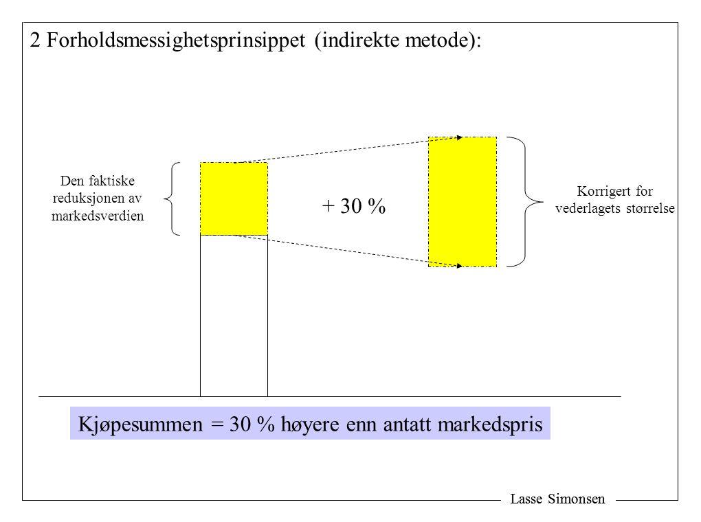 Lasse Simonsen Korrigert for vederlagets størrelse + 30 % 2 Forholdsmessighetsprinsippet (indirekte metode): Den faktiske reduksjonen av markedsverdie