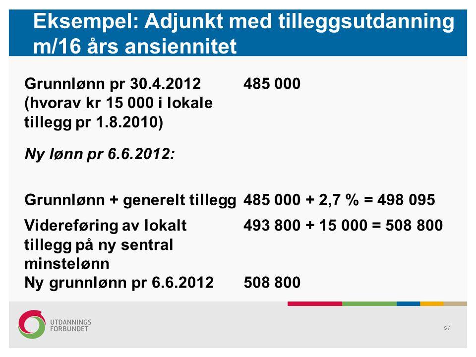 Eksempel: Adjunkt med tilleggsutdanning m/16 års ansiennitet Grunnlønn pr 30.4.2012485 000 (hvorav kr 15 000 i lokale tillegg pr 1.8.2010) Ny lønn pr 6.6.2012: Grunnlønn + generelt tillegg485 000 + 2,7 % = 498 095 Videreføring av lokalt tillegg på ny sentral minstelønn 493 800 + 15 000 = 508 800 Ny grunnlønn pr 6.6.2012508 800 s7