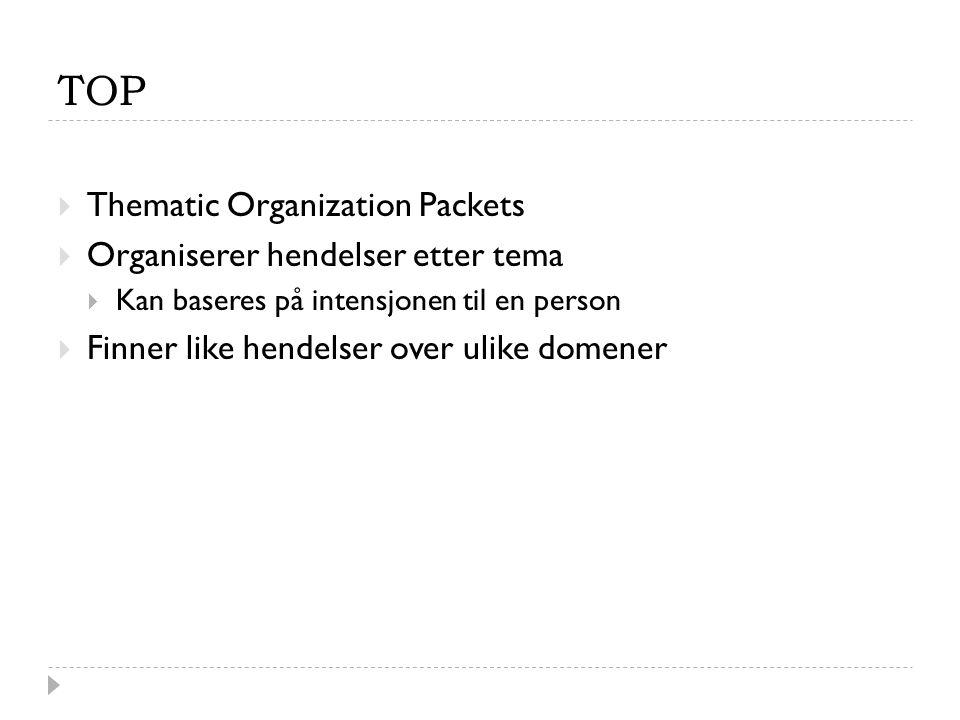 TOP  Thematic Organization Packets  Organiserer hendelser etter tema  Kan baseres på intensjonen til en person  Finner like hendelser over ulike d