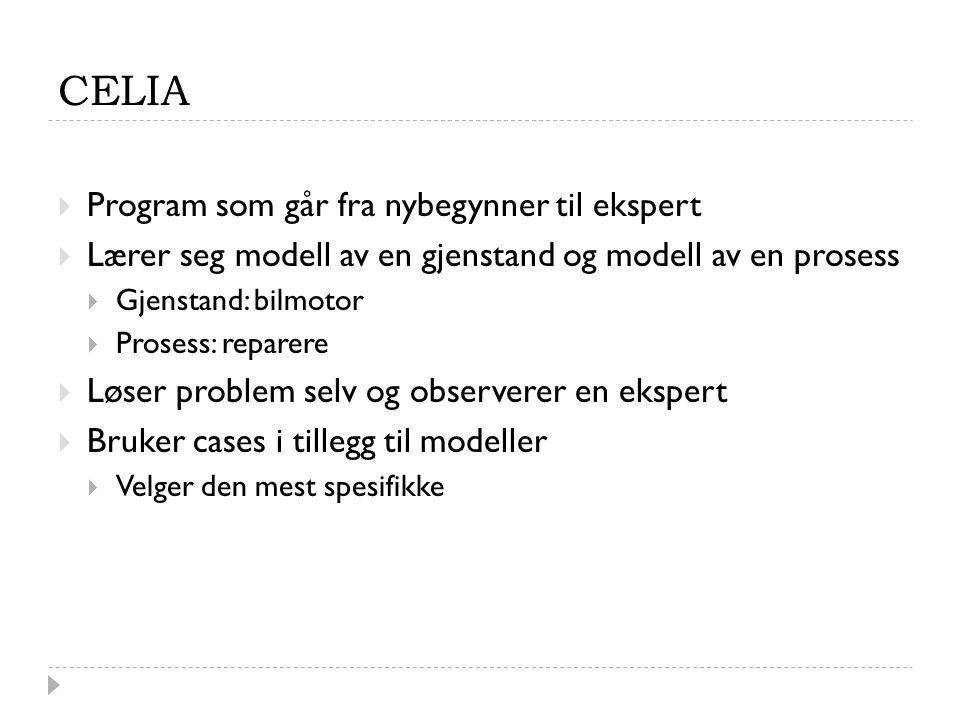 CELIA  Program som går fra nybegynner til ekspert  Lærer seg modell av en gjenstand og modell av en prosess  Gjenstand: bilmotor  Prosess: reparere  Løser problem selv og observerer en ekspert  Bruker cases i tillegg til modeller  Velger den mest spesifikke