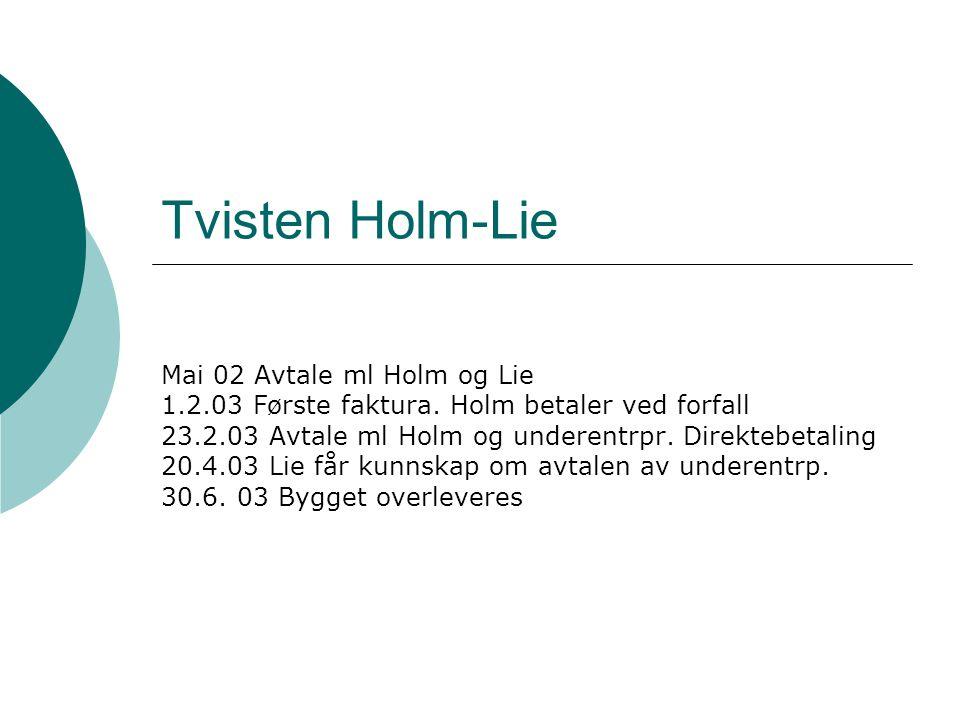 Tvisten Holm-Lie Mai 02 Avtale ml Holm og Lie 1.2.03 Første faktura.