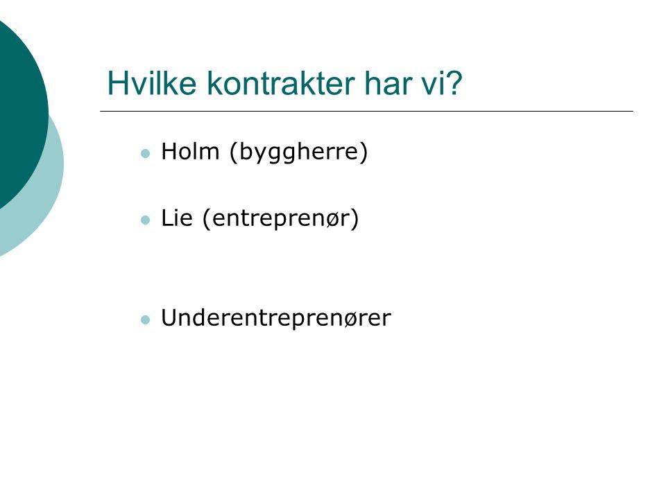 Hvilke kontrakter har vi Holm (byggherre) Lie (entreprenør) Underentreprenører