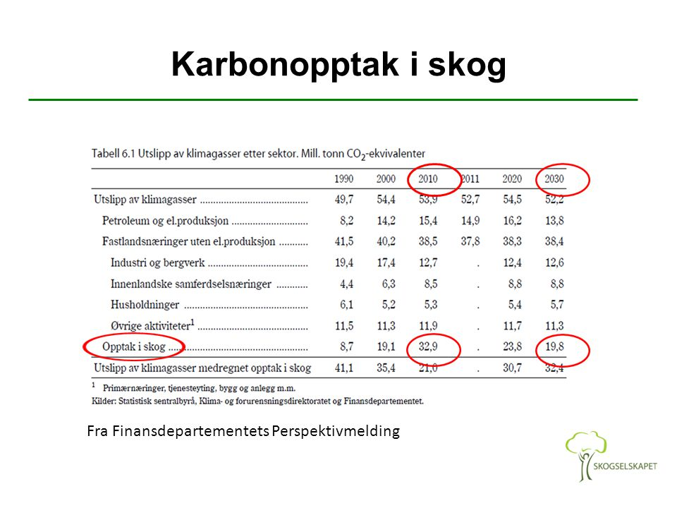 Karbonopptak i skog Fra Finansdepartementets Perspektivmelding