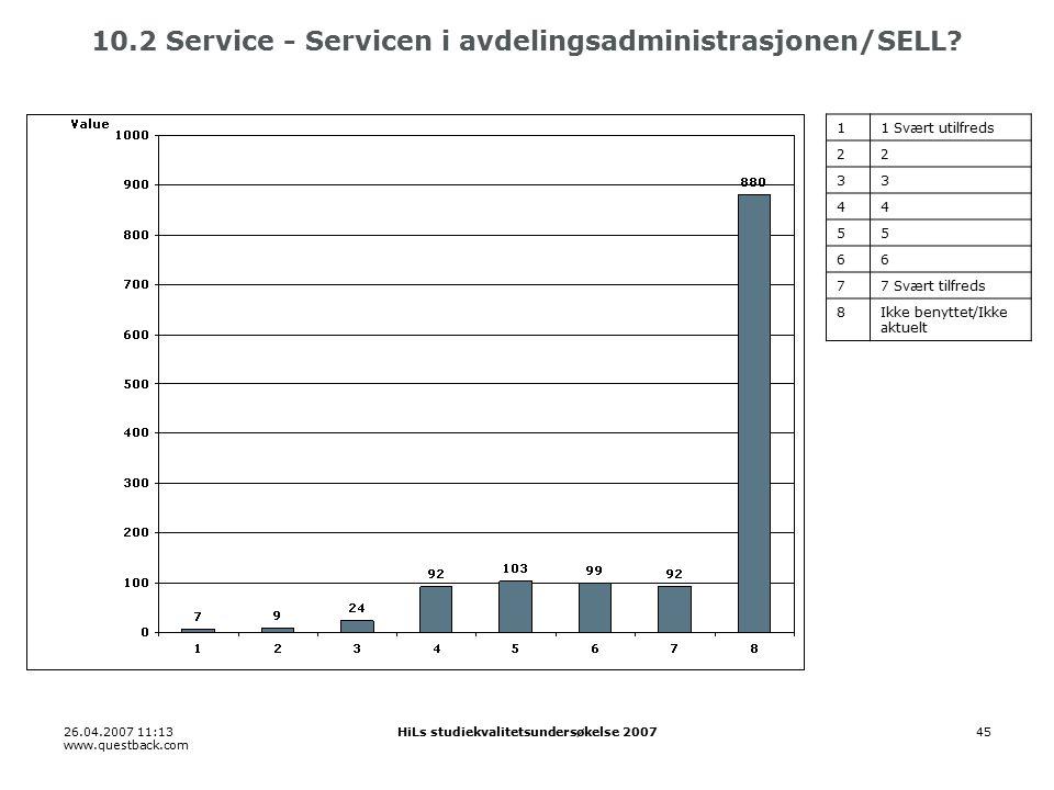 26.04.2007 11:13 www.questback.com HiLs studiekvalitetsundersøkelse 200745 10.2 Service - Servicen i avdelingsadministrasjonen/SELL.