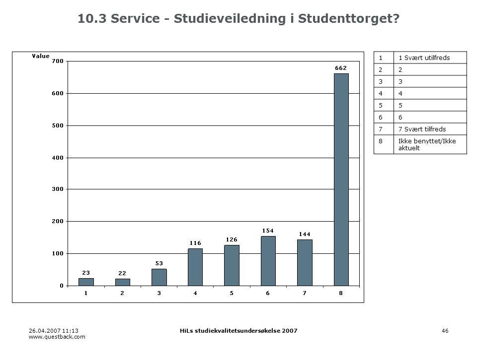 26.04.2007 11:13 www.questback.com HiLs studiekvalitetsundersøkelse 200746 10.3 Service - Studieveiledning i Studenttorget.
