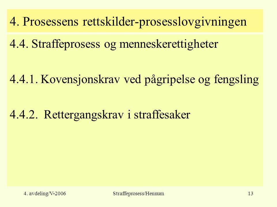 4. avdeling/V-2006Straffeprosess/Hennum13 4. Prosessens rettskilder-prosesslovgivningen 4.4. Straffeprosess og menneskerettigheter 4.4.1. Kovensjonskr