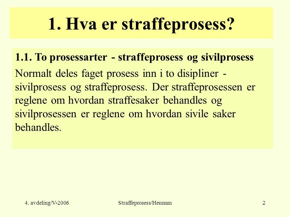 4. avdeling/V-2006Straffeprosess/Hennum2 1. Hva er straffeprosess? 1.1. To prosessarter - straffeprosess og sivilprosess Normalt deles faget prosess i