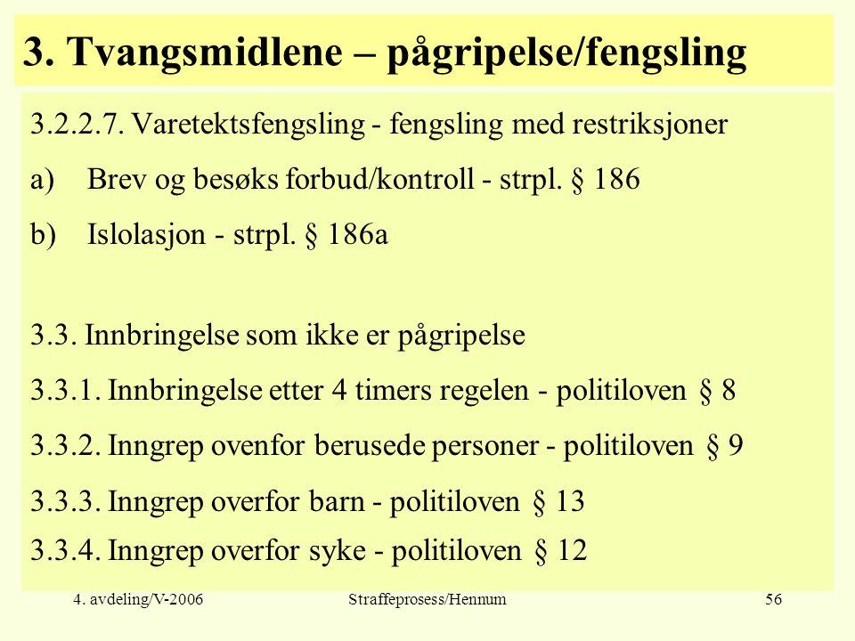 4. avdeling/V-2006Straffeprosess/Hennum56 3. Tvangsmidlene – pågripelse/fengsling 3.2.2.7. Varetektsfengsling - fengsling med restriksjoner a)Brev og