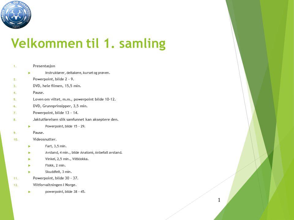 Velkommen til 1.samling 1. Presentasjon  Instruktører, deltakere, kurset og prøven.