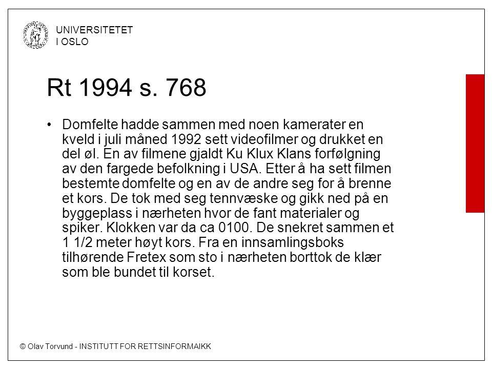© Olav Torvund - INSTITUTT FOR RETTSINFORMAIKK UNIVERSITETET I OSLO Rt 1994 s.