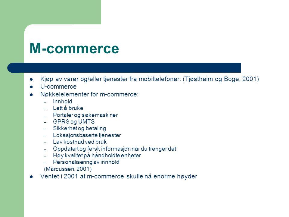 M-commerce Kjøp av varer og/eller tjenester fra mobiltelefoner.