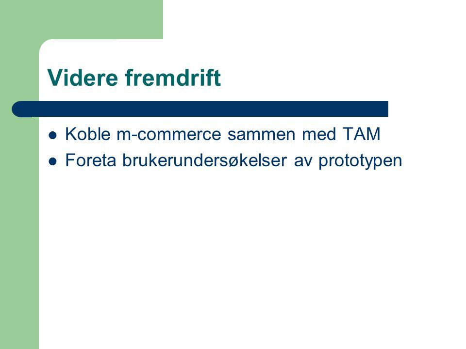 Videre fremdrift Koble m-commerce sammen med TAM Foreta brukerundersøkelser av prototypen