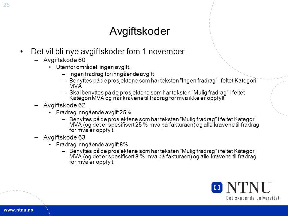 25 Avgiftskoder Det vil bli nye avgiftskoder fom 1.november –Avgiftskode 60 Utenfor området, ingen avgift.