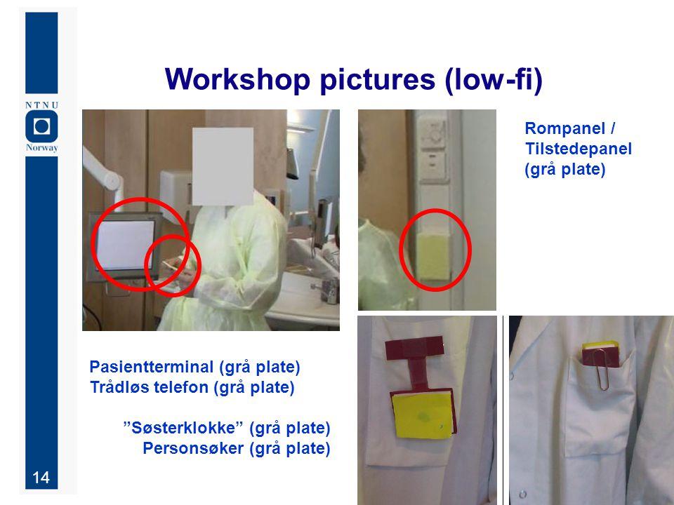 14 Workshop pictures (low-fi) Pasientterminal (grå plate) Trådløs telefon (grå plate) Søsterklokke (grå plate) Personsøker (grå plate) Rompanel / Tilstedepanel (grå plate)