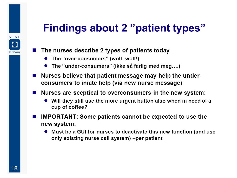 "18 Findings about 2 ""patient types"" The nurses describe 2 types of patients today The ""over-consumers"" (wolf, wolf!) The ""under-consumers"" (ikke så fa"