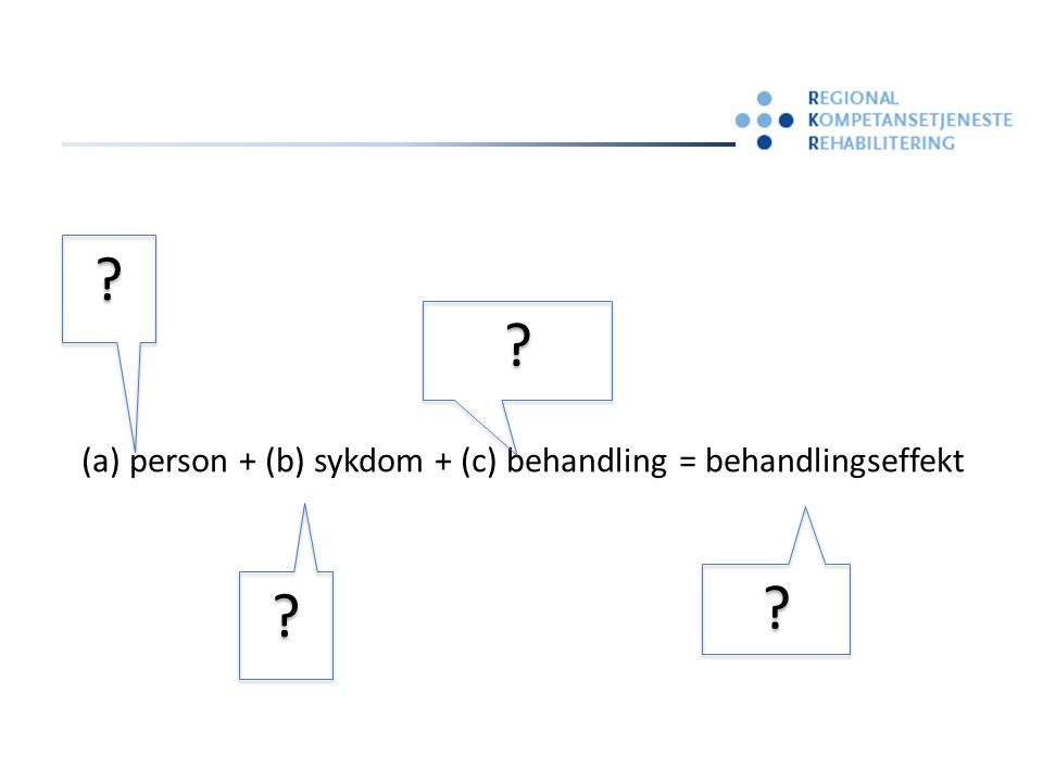 (a) person + (b) sykdom + (c) behandling = behandlingseffekt ? ? ? ? ? ? ? ?