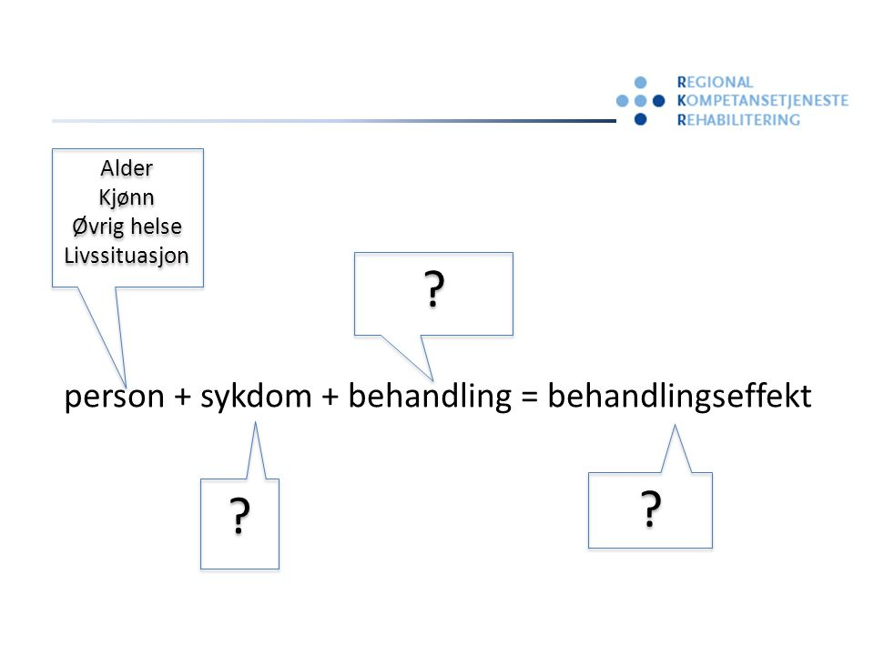 person + sykdom + behandling = behandlingseffekt .
