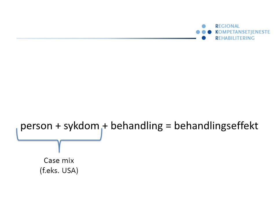 person + sykdom + behandling = behandlingseffekt Case mix Behandlings- oppsummeringer Måleverktøy- oppsummeringer Kunnskapstranslasjon