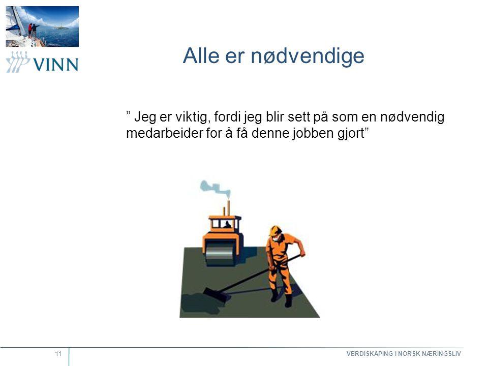 """VERDISKAPING I NORSK NÆRINGSLIV 11 Alle er nødvendige """" Jeg er viktig, fordi jeg blir sett på som en nødvendig medarbeider for å få denne jobben gjort"""
