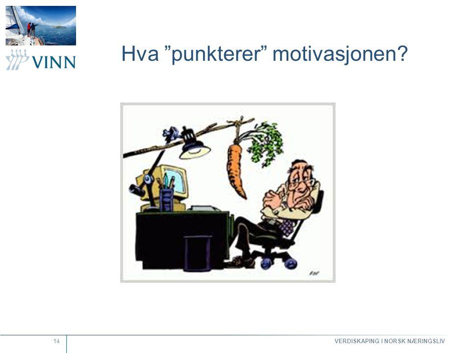 """VERDISKAPING I NORSK NÆRINGSLIV 14 Hva """"punkterer"""" motivasjonen?"""