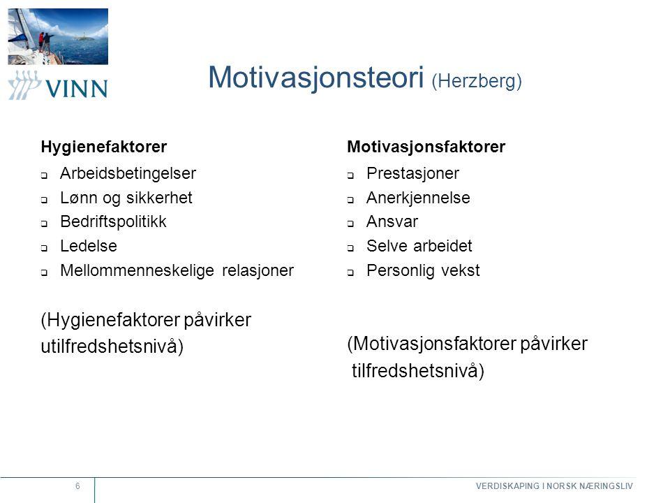 VERDISKAPING I NORSK NÆRINGSLIV 6 Motivasjonsteori (Herzberg) Hygienefaktorer  Arbeidsbetingelser  Lønn og sikkerhet  Bedriftspolitikk  Ledelse 