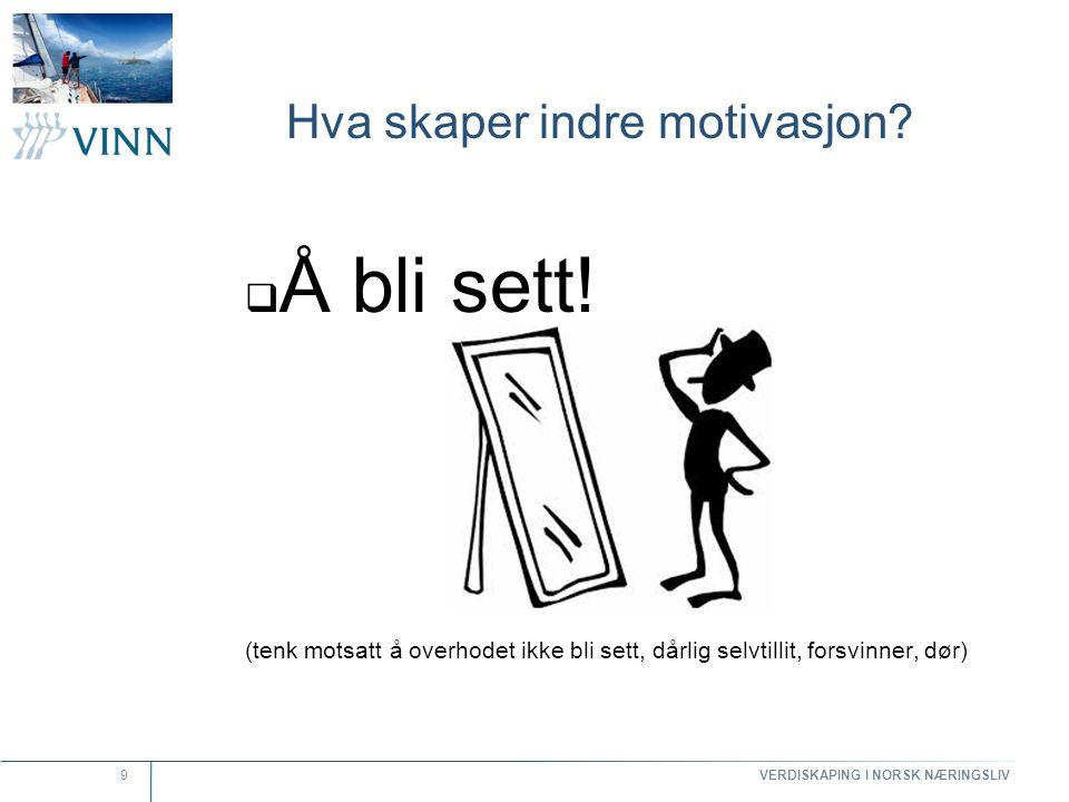 VERDISKAPING I NORSK NÆRINGSLIV 9 Hva skaper indre motivasjon?  Å bli sett! (tenk motsatt å overhodet ikke bli sett, dårlig selvtillit, forsvinner, d