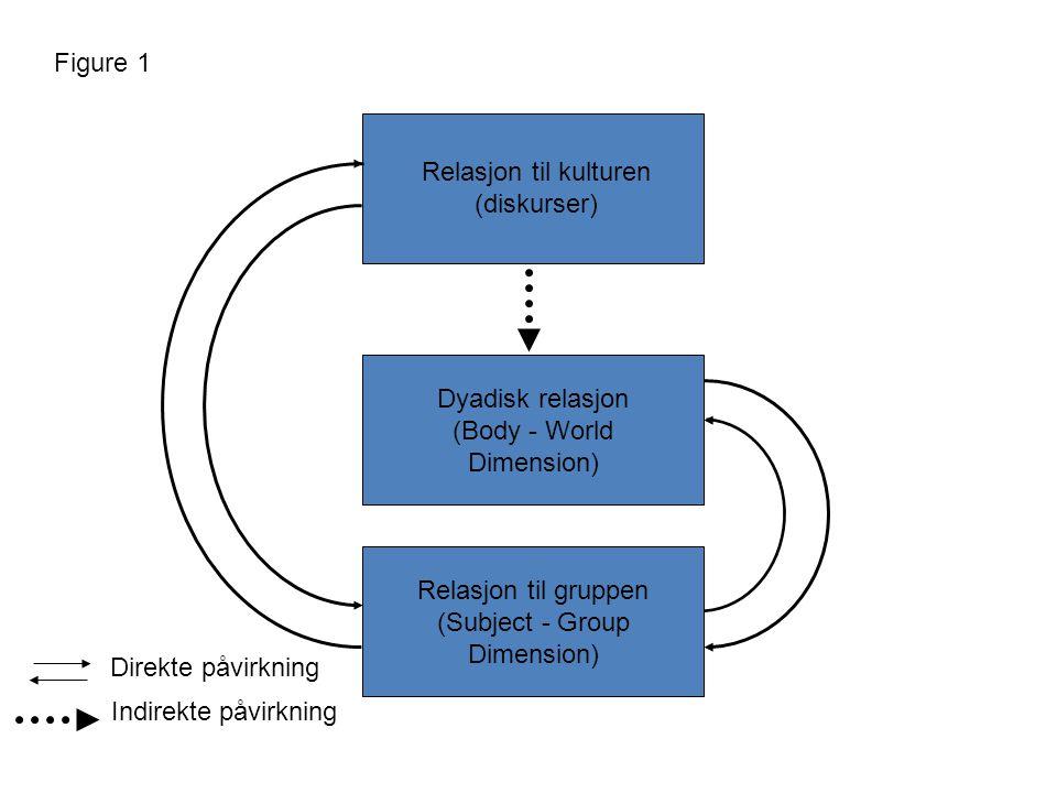 Dyadisk relasjon (Body - World Dimension) Relasjon til gruppen (Subject - Group Dimension) Relasjon til kulturen (diskurser) Direkte påvirkning Indirekte påvirkning Figure 1