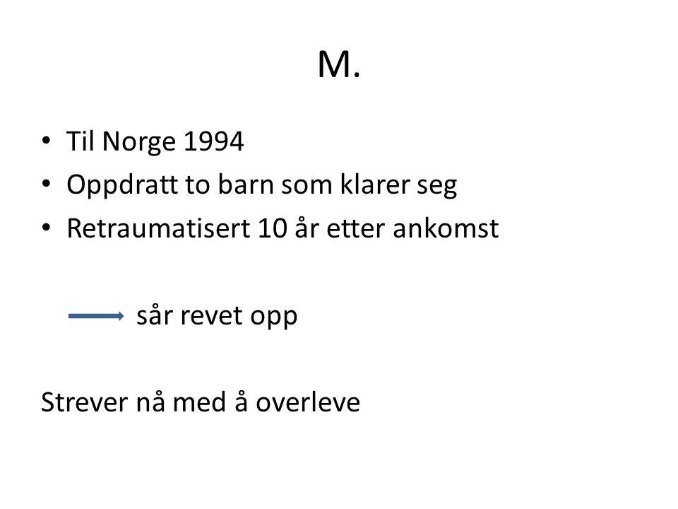 M. Til Norge 1994 Oppdratt to barn som klarer seg Retraumatisert 10 år etter ankomst sår revet opp Strever nå med å overleve