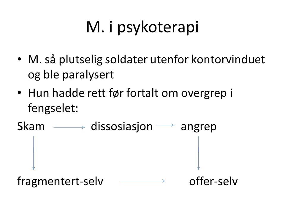 M.Skam – oppløsningsfølelse Skamopplevelse: kulturelt betinget Dissosiasjon: frykt bedre enn skam.