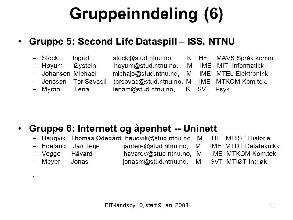 EiT-landsby 10, start 9. jan. 200811 Gruppeinndeling (6) Gruppe 5: Second Life Dataspill – ISS, NTNU –Stock Ingrid stock@stud.ntnu.no, K HF MAVS Språk