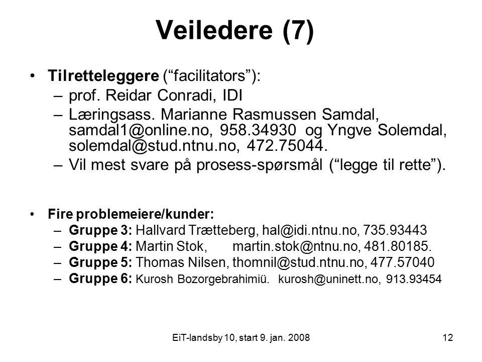 "EiT-landsby 10, start 9. jan. 200812 Veiledere (7) Tilretteleggere (""facilitators""): –prof. Reidar Conradi, IDI –Læringsass. Marianne Rasmussen Samdal"
