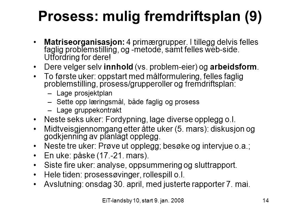 EiT-landsby 10, start 9. jan. 200814 Prosess: mulig fremdriftsplan (9) Matriseorganisasjon: 4 primærgrupper. I tillegg delvis felles faglig problemsti