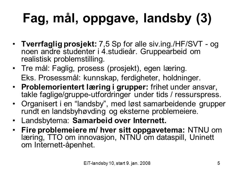 EiT-landsby 10, start 9. jan. 20085 Fag, mål, oppgave, landsby (3) Tverrfaglig prosjekt: 7,5 Sp for alle siv.ing./HF/SVT - og noen andre studenter i 4